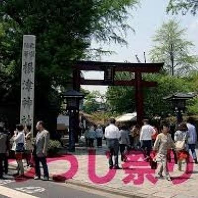 つつじの名所=約7km地点が根津神社です。
