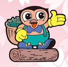 川根町のゆるキャラ、チャリムくん。 フクロウをモチーフにしたキャラクターで、川根茶の入った籠を背負っているのが特徴。