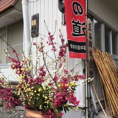 庄谷相休憩所では、お花、お茶のお出迎えがあります。