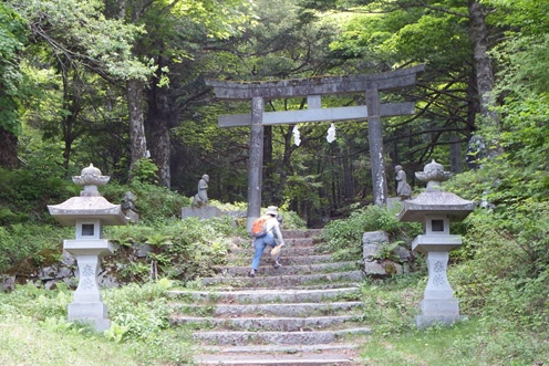 馬返しで折り返す、富士登山競走コース(富士吉田市)
