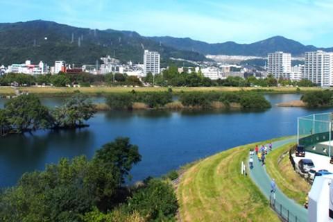 太田川のランニングロード「大芝・牛田」コース(広島市)