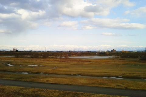 直線でフラット・庄川河川敷サイクリングロードコース(射水市)