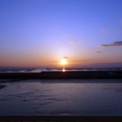 夕焼けの南荒尾海岸LSD18km