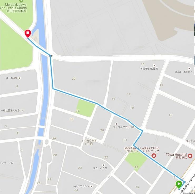 紫川河畔公園で集合して、ロードの場合は概ね10kmほど走っています。