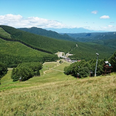 標高差約200m・距離600m登ったゲレンデトップからみたメイン会場です
