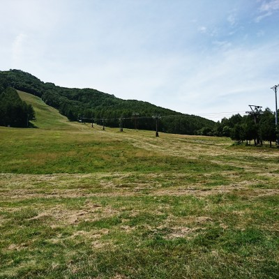 メイン会場から、トレイルランリレーで登る斜面がみえます!