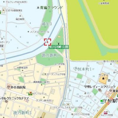 よく集合場所にする紫川河畔公園です。