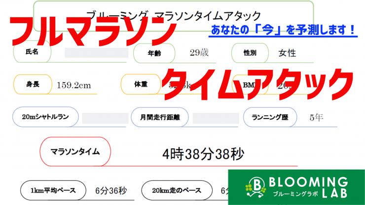 【ブルーミングラボ】マラソンタイムアタック(完走タイム予測)