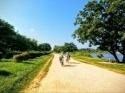 脚にやさしい全面土のランニングコース 500m毎の距離表示もいいね。武庫川河川敷