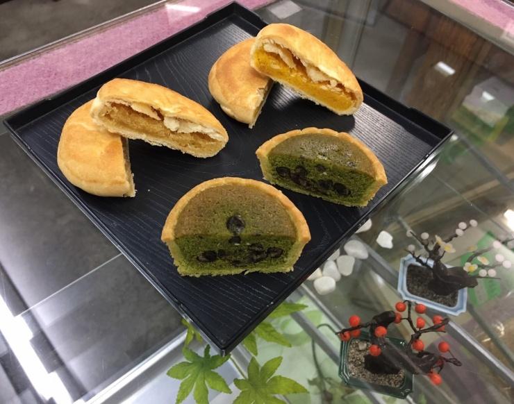 青木東洋堂 抹茶タルト、サツマイモパイ、かぼちゃパイ