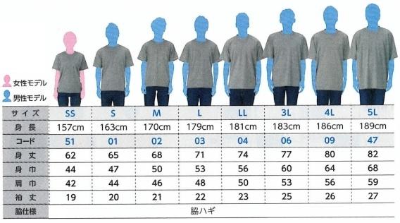 参加賞(Tシャツ)サイズ表