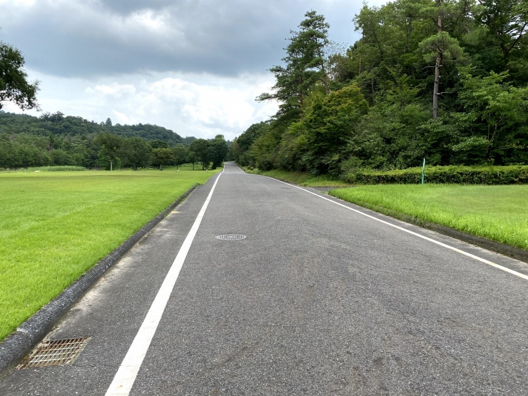 ハーフはトラックとこの舗装道を走ります。