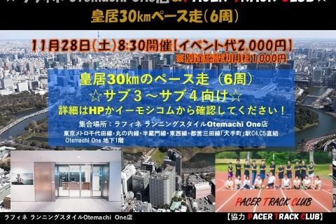 ラフィネ皇居30キロ走 11/28(土)8:30