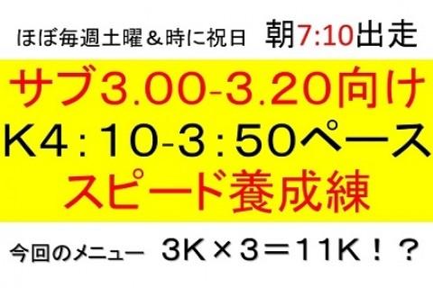 サブ3.00~3.20の為のK4:10~K3:50スピード養成練