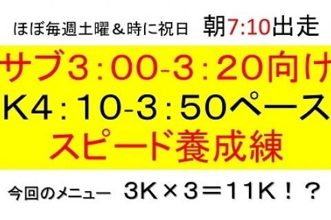 サブ3:00~3:20の為のK4:10~K3:50スピード養成練