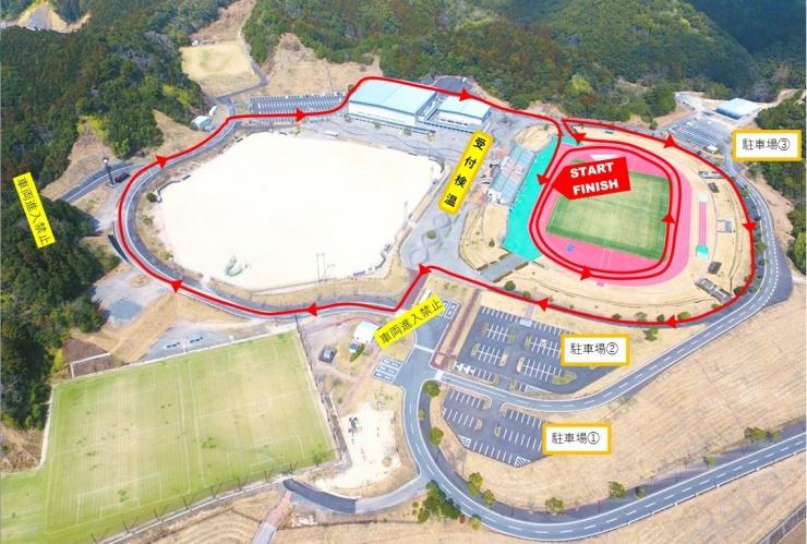 2kmの部は宿毛市総合運動公園敷地内で行います。
