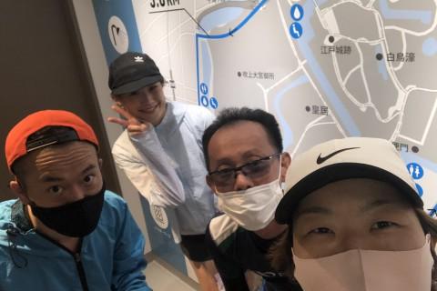 1km×5本インターバル@皇居外苑