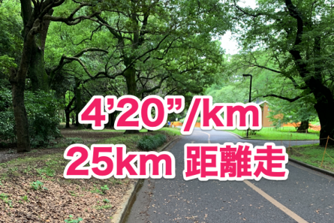 25km距離走 キロ4分20秒ペース