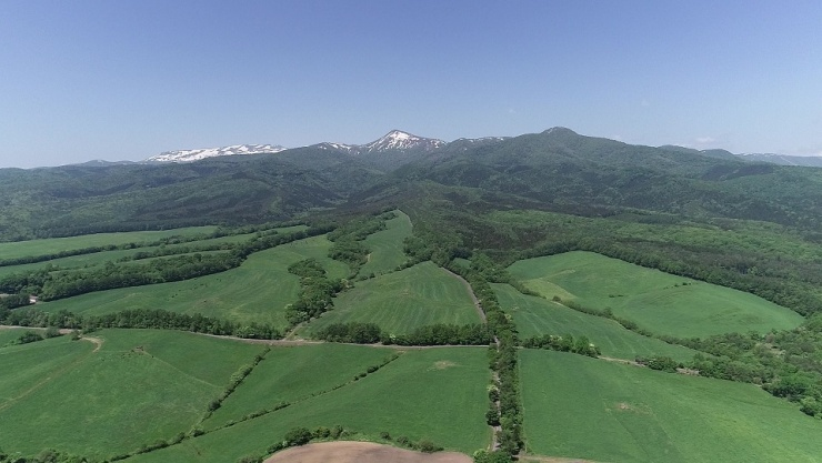 見所の一つ・雄大な牧草地帯